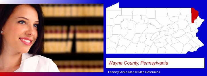 a young, female attorney in a law library; Wayne County, Pennsylvania highlighted in red on a map