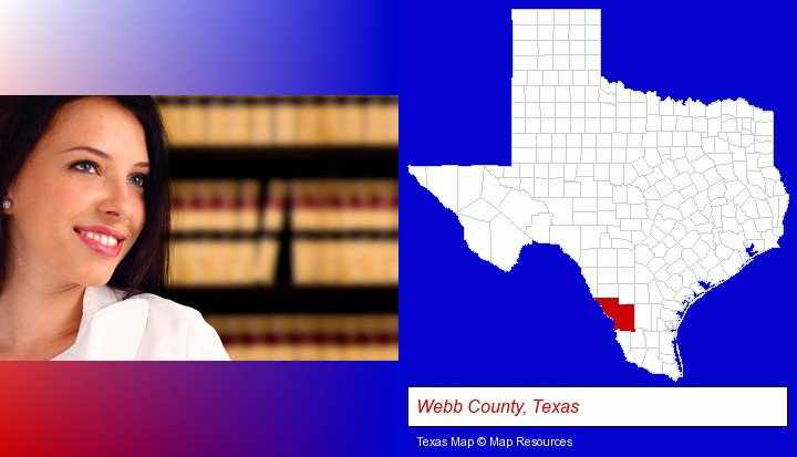 a young, female attorney in a law library; Webb County, Texas highlighted in red on a map