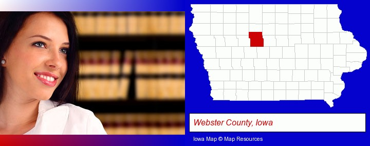 a young, female attorney in a law library; Webster County, Iowa highlighted in red on a map