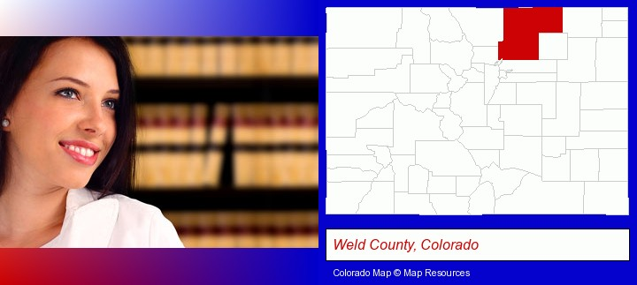 a young, female attorney in a law library; Weld County, Colorado highlighted in red on a map