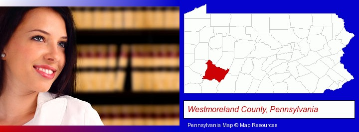 a young, female attorney in a law library; Westmoreland County, Pennsylvania highlighted in red on a map
