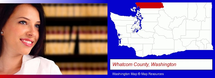 a young, female attorney in a law library; Whatcom County, Washington highlighted in red on a map