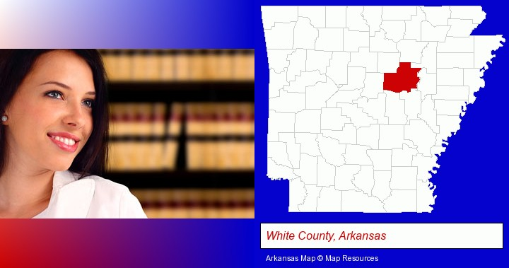 a young, female attorney in a law library; White County, Arkansas highlighted in red on a map
