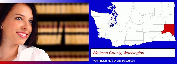 a young, female attorney in a law library; Whitman County, Washington highlighted in red on a map