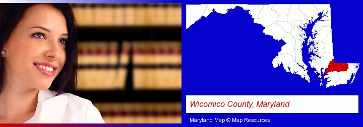 a young, female attorney in a law library; Wicomico County, Maryland highlighted in red on a map