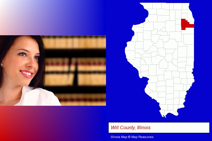 a young, female attorney in a law library; Will County, Illinois highlighted in red on a map