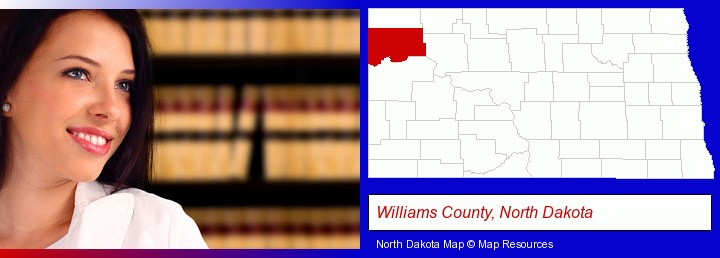 a young, female attorney in a law library; Williams County, North Dakota highlighted in red on a map