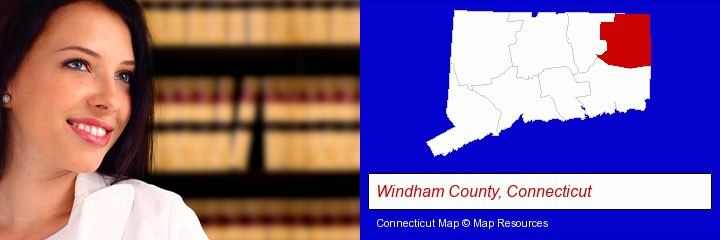 a young, female attorney in a law library; Windham County, Connecticut highlighted in red on a map