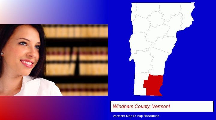 a young, female attorney in a law library; Windham County, Vermont highlighted in red on a map