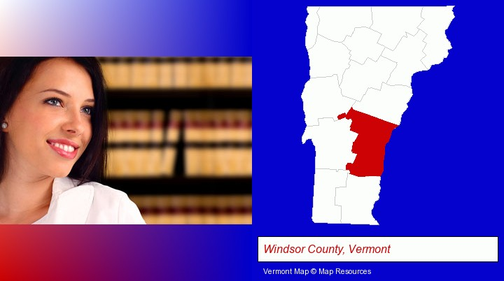 a young, female attorney in a law library; Windsor County, Vermont highlighted in red on a map