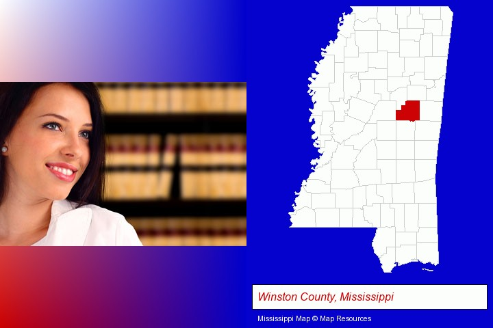 a young, female attorney in a law library; Winston County, Mississippi highlighted in red on a map
