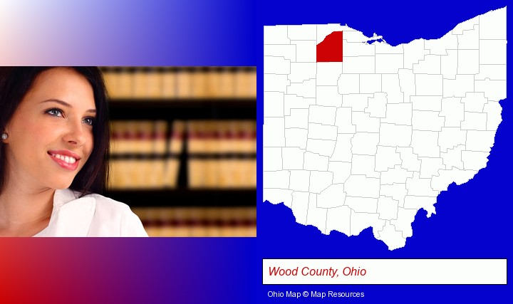 a young, female attorney in a law library; Wood County, Ohio highlighted in red on a map