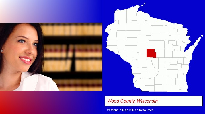 a young, female attorney in a law library; Wood County, Wisconsin highlighted in red on a map