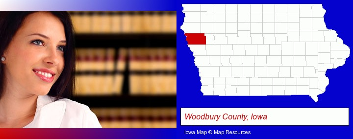 a young, female attorney in a law library; Woodbury County, Iowa highlighted in red on a map