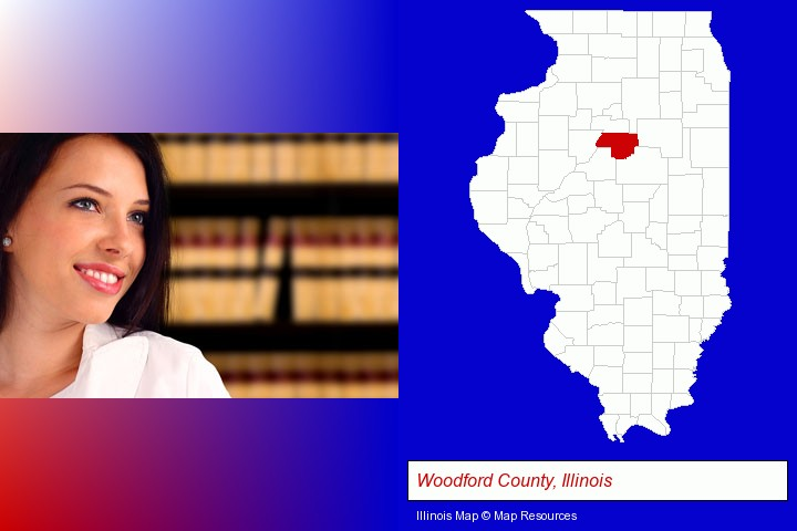 a young, female attorney in a law library; Woodford County, Illinois highlighted in red on a map