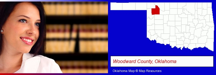 a young, female attorney in a law library; Woodward County, Oklahoma highlighted in red on a map