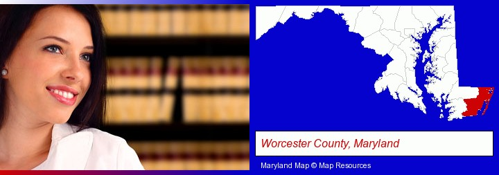 a young, female attorney in a law library; Worcester County, Maryland highlighted in red on a map