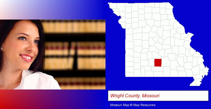a young, female attorney in a law library; Wright County, Missouri highlighted in red on a map