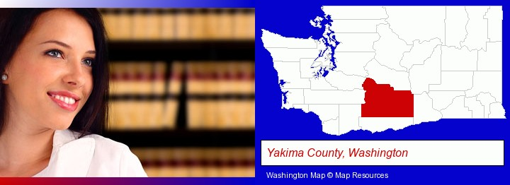 a young, female attorney in a law library; Yakima County, Washington highlighted in red on a map