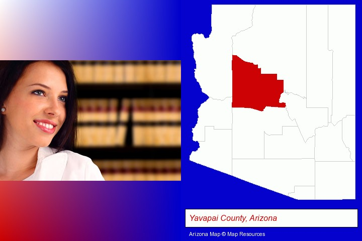 a young, female attorney in a law library; Yavapai County, Arizona highlighted in red on a map