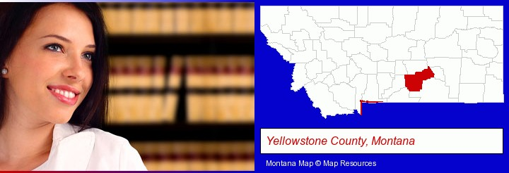 a young, female attorney in a law library; Yellowstone County, Montana highlighted in red on a map