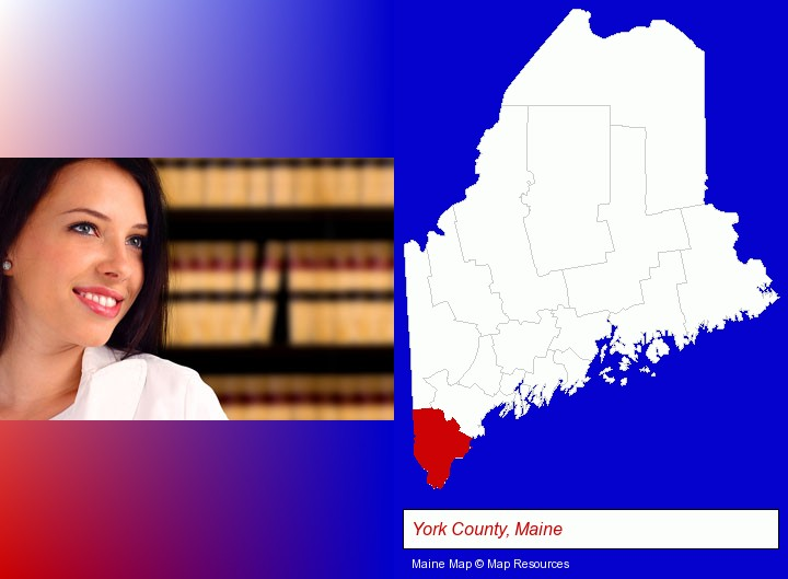 a young, female attorney in a law library; York County, Maine highlighted in red on a map
