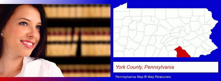 a young, female attorney in a law library; York County, Pennsylvania highlighted in red on a map