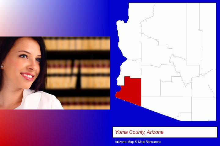 a young, female attorney in a law library; Yuma County, Arizona highlighted in red on a map